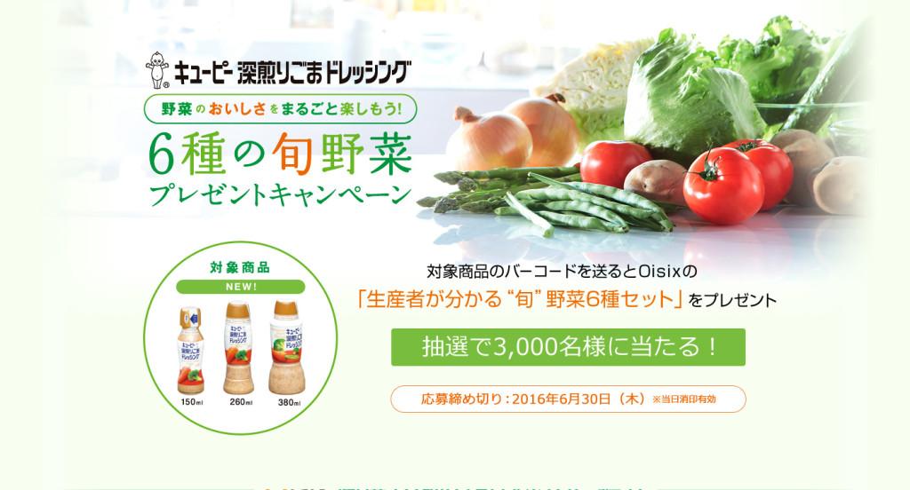 6種の旬の野菜プレゼントキャンペーン