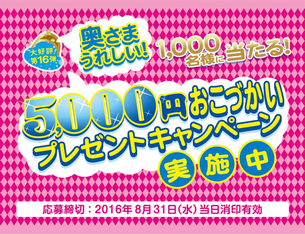 奥様うれしい!5,000円おこづかいプレゼントキャンペーン